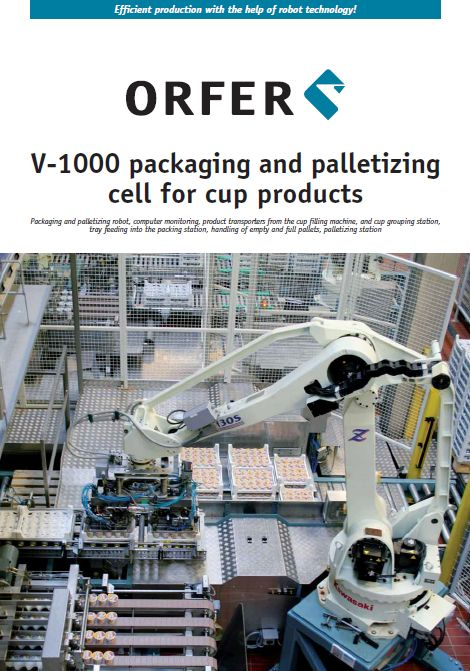 Packing and palletizing cell for cup products